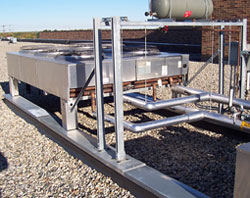Liebert Dry Cooler Raised Up Off Roof Deck On Roofing