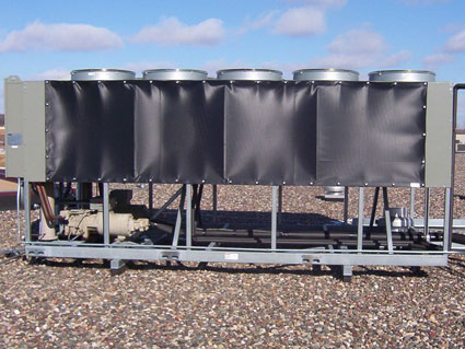 Ideal as chiller and rooftop unit weather guards.   prevents frigid air from directly passing through coils - helping prevent compressor stalling