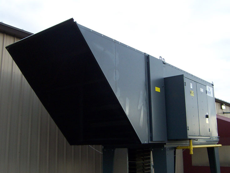 AHU Intake Screen over hooded air handling unit.  (HD Commercial Grade Filter with Twist Lock Fasteners)