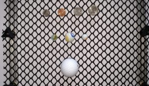 Hail Mesh with Marbles & Coins - close up
