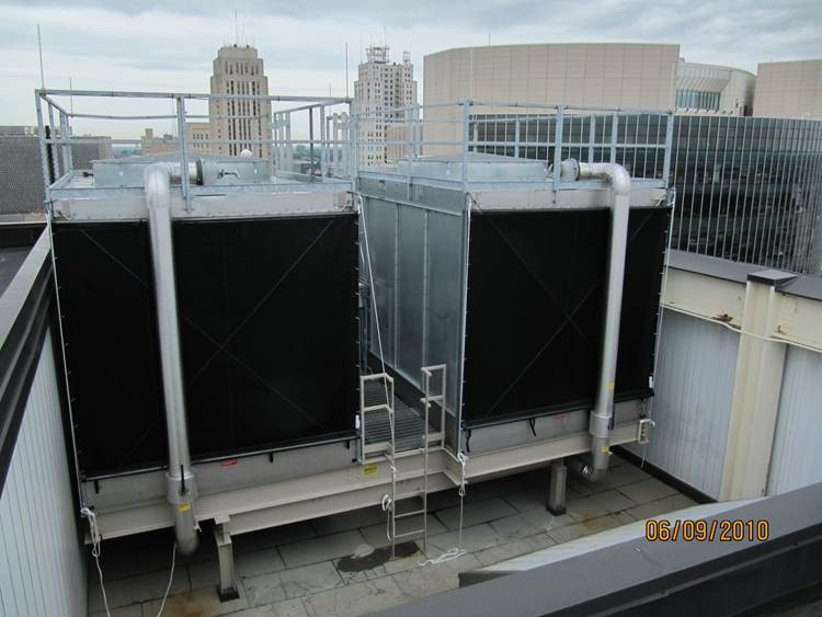 Cooling Towers with Roll-up style Pulley Mount Filter System - Bundle Traps are along the bottom to keep filters neatly contained during the off season